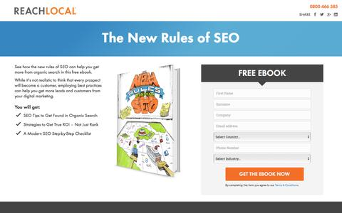 Screenshot of Landing Page reachlocal.com - ReachLocal Ebook    The New Rules of SEO - captured April 18, 2016