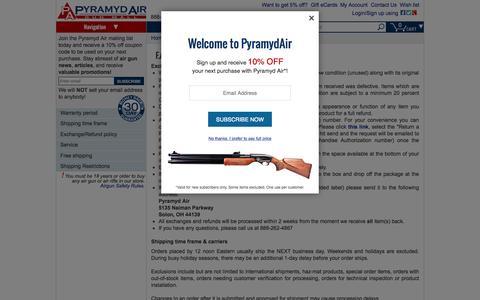 Screenshot of FAQ Page pyramydair.com - Air Guns FAQ, Warranty information and more ... -- Pyramyd Air - captured Oct. 1, 2015