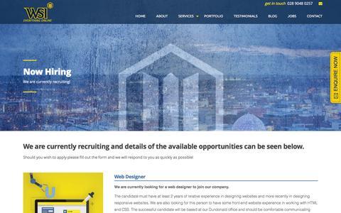 Screenshot of Jobs Page wsidigitalweb.co.uk - Jobs at WSI Digital Web - captured Feb. 23, 2016
