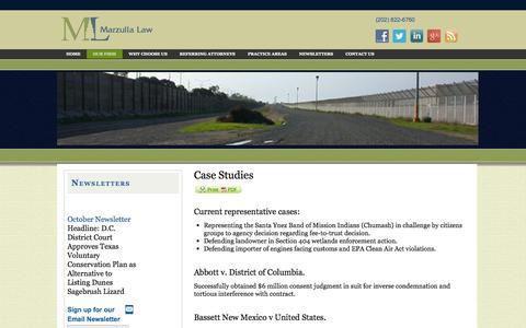Screenshot of Case Studies Page marzulla.com - Case Studies Court of Federal Claims Litigation Attorneys Nancie, Roger Marzulla Washington, DC  | Marzulla Law - captured Nov. 3, 2014