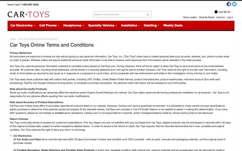 Screenshot of Terms Page cartoys.com - Car Toys Online Terms and Conditions - captured Sept. 19, 2014