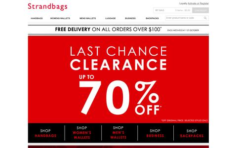 Screenshot of Home Page strandbags.com.au - Strandbags | Shop Online, Handbags, Womens Wallets,Mens Wallets,Travel, Luggage, Backpacks and Satchels - captured Sept. 19, 2014