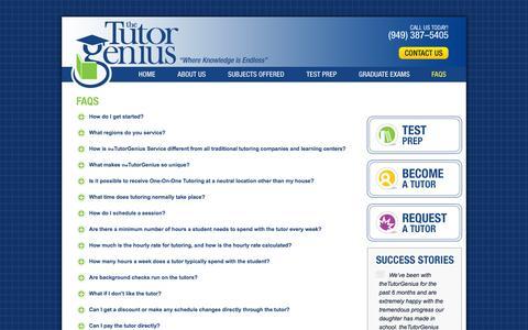Screenshot of FAQ Page thetutorgenius.com - Tutoring FAQs : Tutor Genius : Tutor FAQs : Tutor Answers - captured Oct. 9, 2014