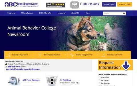 Screenshot of Press Page animalbehaviorcollege.com - Newsroom | Animal Behavior College - captured July 30, 2018
