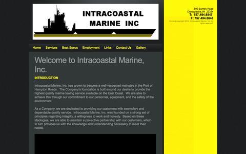 Screenshot of Home Page icmtugs.com - Intracoastal Marine Inc. - captured Oct. 6, 2014