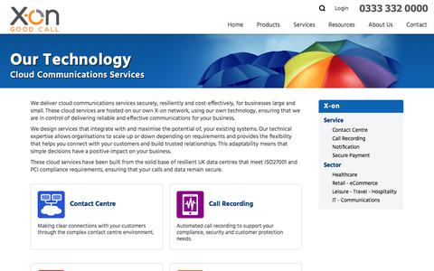 Screenshot of Services Page x-on.co.uk - X-on Cloud Communications Services - captured Sept. 20, 2018