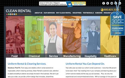 Screenshot of Home Page cleanrental.com - Uniform Rental | Uniform Design | Uniform Cleaning | Clean Rental - captured Dec. 9, 2015