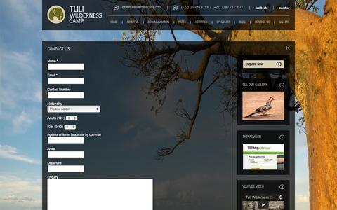 Screenshot of Contact Page tuliwildernesscamp.com - contact - captured Oct. 6, 2014