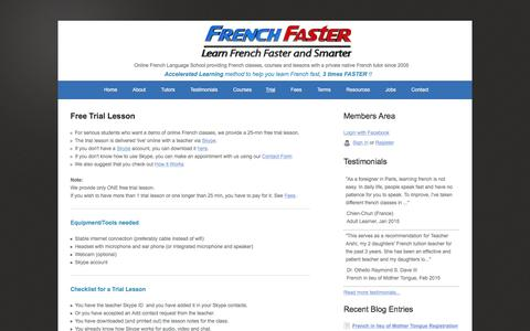 Screenshot of Trial Page frenchfaster.com - Free French Lesson (Trial Lesson) - captured Jan. 8, 2016