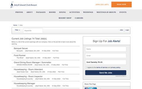 Screenshot of Jobs Page applicantpro.com - Job Listings - The Jekyll Club Jobs - captured Oct. 13, 2018