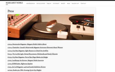 Screenshot of Press Page margaretnoble.net - sound contemporary arts | Margaret Noble - captured Oct. 6, 2014