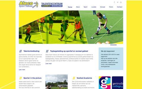 Screenshot of Home Page aleco.nl - Aleco Sportvisions  Aleco Sport Visions / Talentencentrum Zuidwest Nederland - captured Oct. 4, 2014