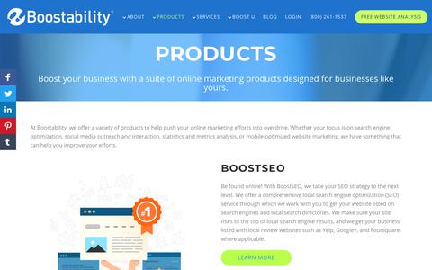 Screenshot of Products Page boostability.com - Online Marketing Products - captured July 23, 2019