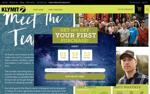 Screenshot of About Page klymit.com - Klymit About Us - KLYMIT - captured Sept. 20, 2018