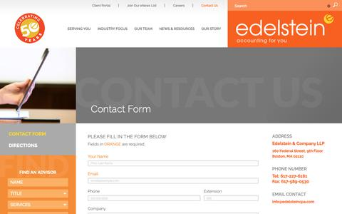 Screenshot of Contact Page edelsteincpa.com - Edelstein & Company, LLP |   Contact Form - captured Sept. 27, 2018