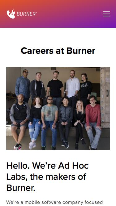 Screenshot of Jobs Page  burnerapp.com - Careers — Burner: Free Phone Number, Temporary Disposable Numbers