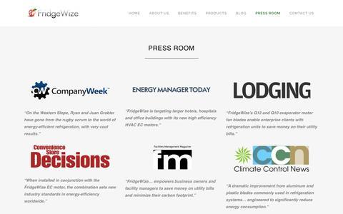 Screenshot of Press Page fridgewize.com - Fridgewize |   Press Room - captured Jan. 8, 2016