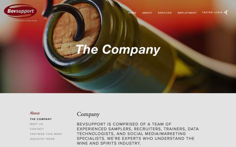 Screenshot of About Page bevsupport.com - The Company — Bevsupport Corp. - captured Nov. 3, 2014