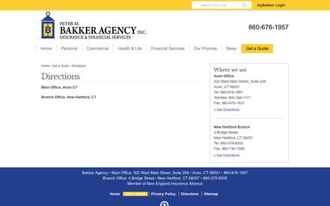 Screenshot of Maps & Directions Page bakkerinsurance.com - Get Your Pinpoint Directions To Our Bakker Agency Offices - captured Sept. 27, 2018