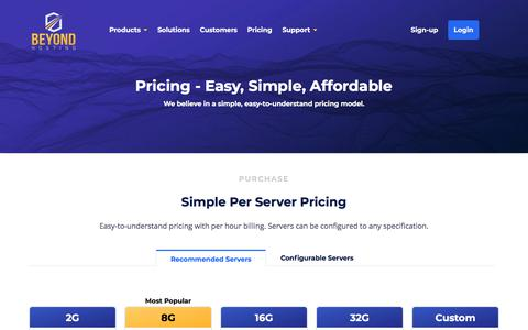 Screenshot of Pricing Page beyondhosting.net - Managed Hosting Simple Pricing - Beyond Hosting - captured March 13, 2018