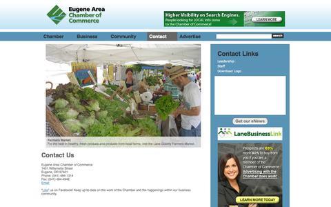 Screenshot of Contact Page eugenechamber.com - Contact Us - Eugene Area Chamber of Commerce | Eugene, OR - captured Oct. 3, 2014