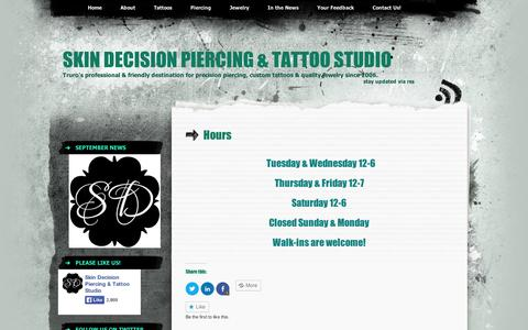 Screenshot of Hours Page wordpress.com - Hours | Skin Decision Piercing & Tattoo Studio - captured Sept. 12, 2014