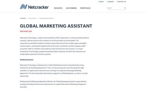 Screenshot of Jobs Page netcracker.com - Netcracker - Global Marketing Assistant - captured April 13, 2018
