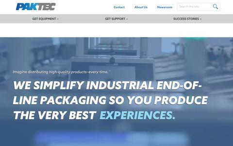 Screenshot of Home Page pak-tec.com - PakTec | Pak-Tec Industrial Product Packaging - captured Sept. 26, 2018
