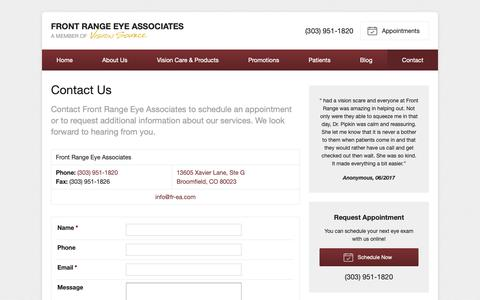 Screenshot of Contact Page visionsource-frea.com - Contact Information for Front Range Eye Associates in Broomfield CO - captured Oct. 11, 2018