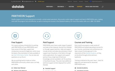 Screenshot of Support Page datalab.eu - Support   Datalab - captured Aug. 1, 2016