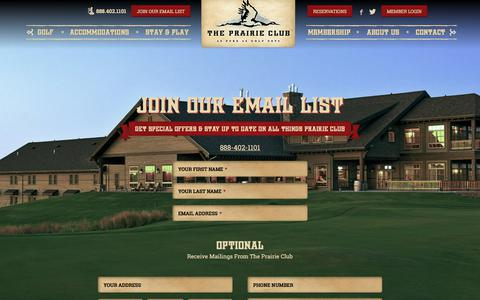 Screenshot of Signup Page theprairieclub.com - Join Our Email List | The Prairie Club - captured June 15, 2017