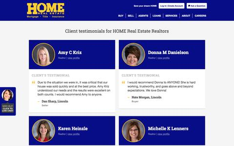 Screenshot of Testimonials Page homerealestate.com - Testimonials   Lincoln, NE REALTORS®, Houses for Sale   Home Real Estate - captured May 21, 2017