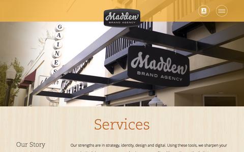Screenshot of Services Page brandmadden.com - Services - Madden Brand Agency - captured Oct. 4, 2014