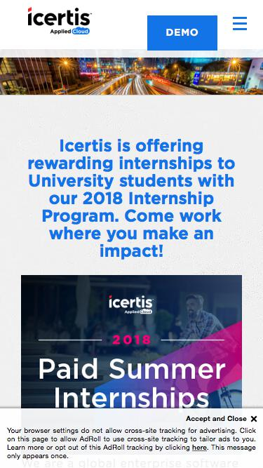Screenshot of Jobs Page  icertis.com - Icertis Internship Program - Contract Lifecycle Management