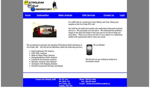 Screenshot of Home Page foxcreeklab.ca - Petroleum Field Labs - captured Oct. 2, 2014