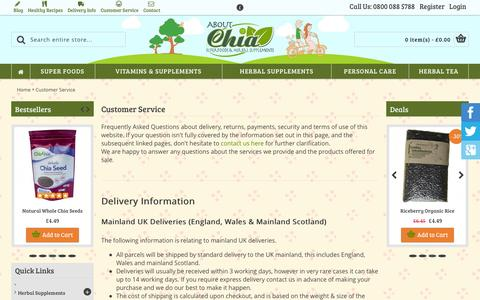Screenshot of Support Page aboutchia.com - Customer Service - captured Oct. 4, 2014