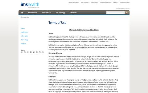 Screenshot of Terms Page imshealth.com - Terms of Use - captured Oct. 10, 2014