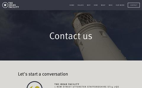 Screenshot of Contact Page theideasfacility.com - The Ideas Facility - Contact - captured Oct. 20, 2018