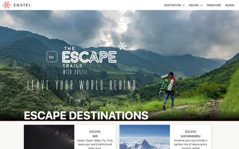 Screenshot of zostel.com - Zostel Escape | Culture, Nature, Thrill - captured July 29, 2017