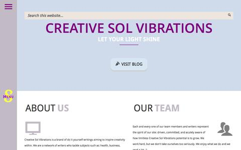Screenshot of Home Page creativesolvibrations.com - Creative Sol Vibrations - Let Your Light Shine - captured July 17, 2016