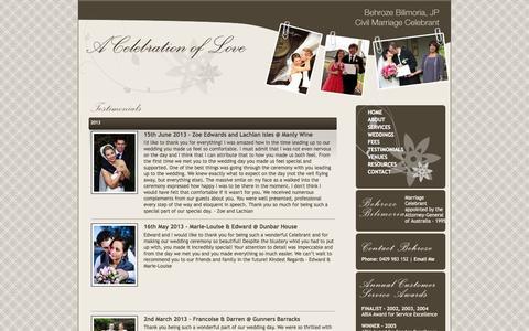 Screenshot of Testimonials Page weddingsbybehroze.com.au - Civil Marriage Celebrant - Testimonials - captured Oct. 1, 2014