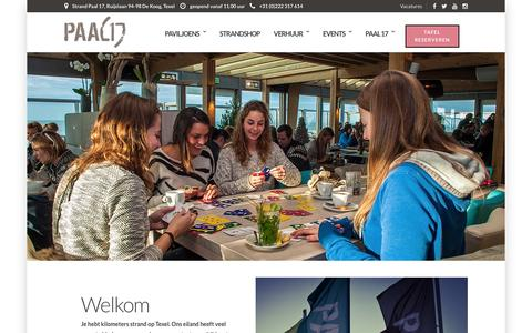 Screenshot of Home Page paal17.com - Paal 17 - Strandpaviljoen op Texel - Home - captured Feb. 16, 2016
