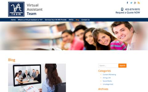 Screenshot of Blog vateam.ca - Blog | VA Team - Virtual Administrative Assistant Calgary | Virtual Assistant in Calgary | Your VA Team 403-879-9970 - captured Oct. 26, 2014