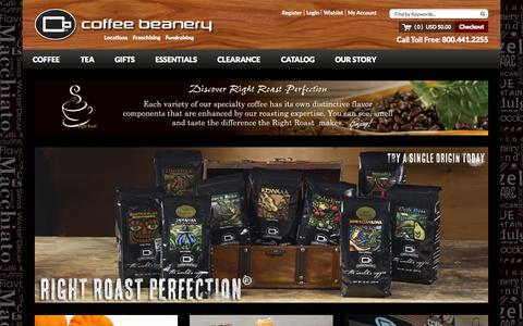 Screenshot of Home Page coffeebeanery.com - Homepage - captured Nov. 21, 2015