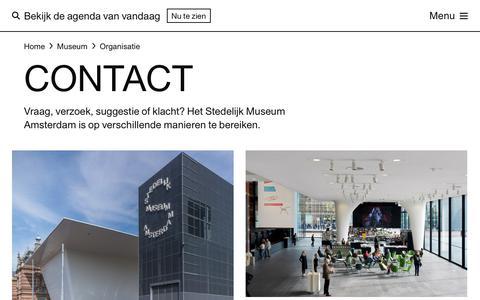 Screenshot of Contact Page stedelijk.nl - Contact — Stedelijk Museum Amsterdam - captured Jan. 16, 2018