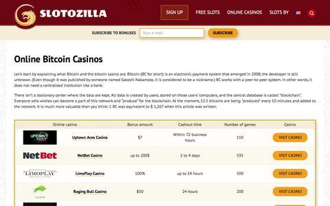 Screenshot of slotozilla.com - Bitcoin Casinos | Slotozilla - captured Aug. 16, 2017