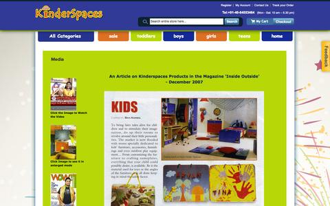 Screenshot of Press Page kinderspaces.net - Media   Baby Products Online India - Kinderspaces.net - captured Sept. 30, 2014
