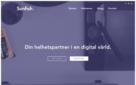 Screenshot of Home Page sunfish.se - Sunfish AB: Digital byrå i Malmö - captured Feb. 17, 2016