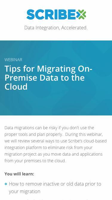 Registration | Webinar: Tips for Migrating On-Premise Data to the Cloud | Scribe Software