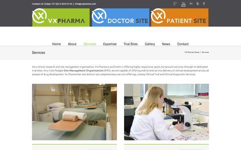 Screenshot of Services Page vxpharma.com - Services - VX Pharma - captured Aug. 17, 2016